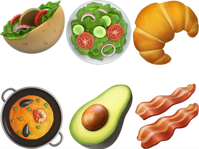 New emojis for pita sandwich, salad, croissant, paella, avocado, and bacon.